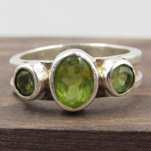 Size 5 Sterling Silver Rustic Triple Peridot Ring